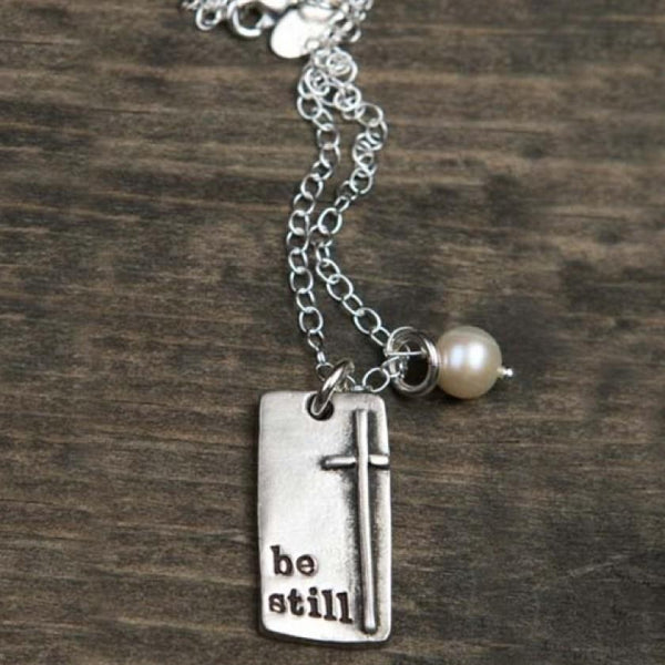 Fine Pewter Be Still And Know Necklace With Pearl