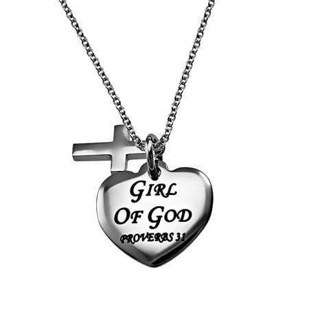 Girl Of God Sweetheart Cross Necklace