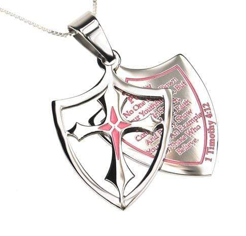 Girl's 2 Piece Shield Cross Necklace Purity