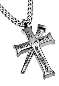 Established Cross Necklace Greater Bible Verse - Atrio Hill