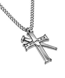 Greater Is He Cross Necklace With Nail