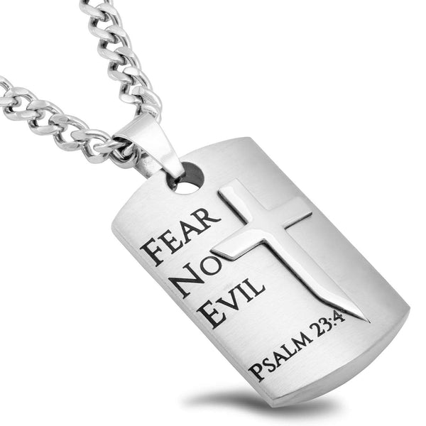 Guardian Shield Cross Necklace Psalm 23 Fear No Evil