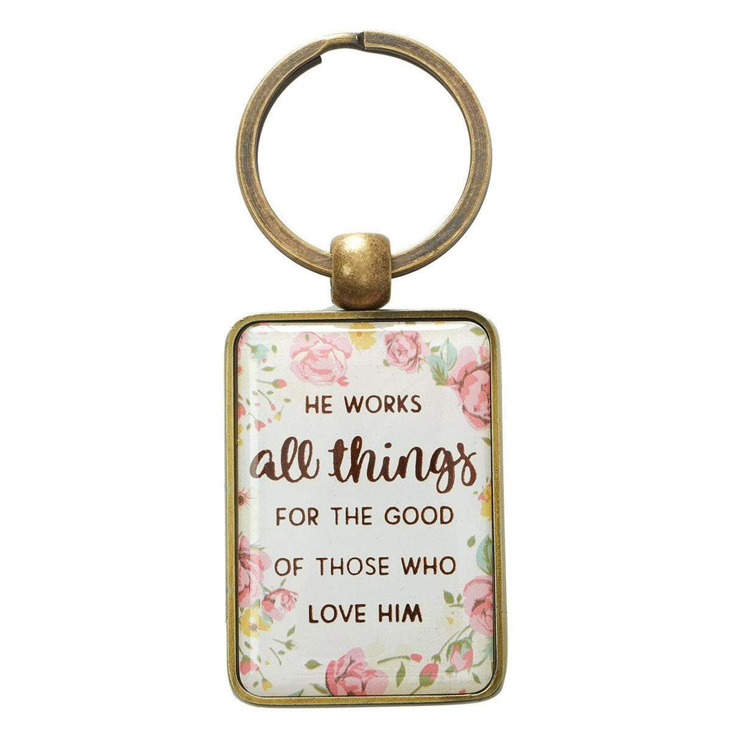 He Works All Things Romans 8:28 Key Chain