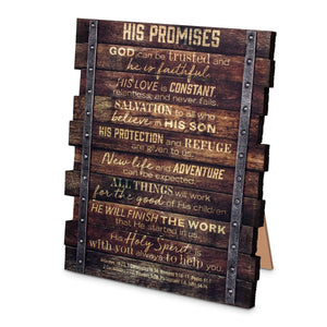 His Promises Stacked Scripture Plaque