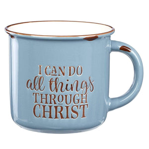 I Can Do All Things Through Christ - Blue Camp Style Coffee Mug