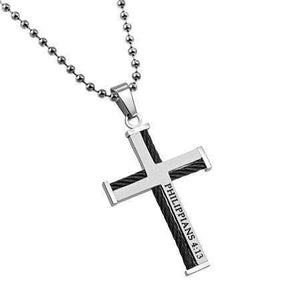 Philippians 4:13 Cable Cross Necklace