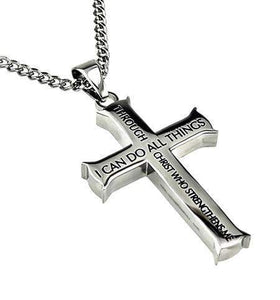 Men's Iron Cross Necklace Through Christ Philippians 4:13 Bible Verse
