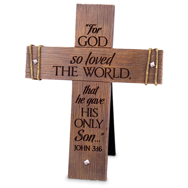 John 3:16 Rugged Tabletop Cross