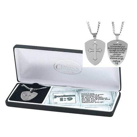 Joshua 1:9 Shield Cross Necklace