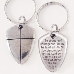 Joshua 1:9 Shield Of Faith Keychain