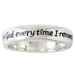 Ladies Sterling Silver Christian Remembrance Ring