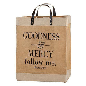 Large Jute Goodness & Mercy Tote Bag