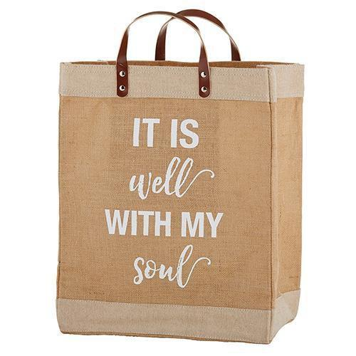 Large Jute It Is Well With My Soul Tote Bag