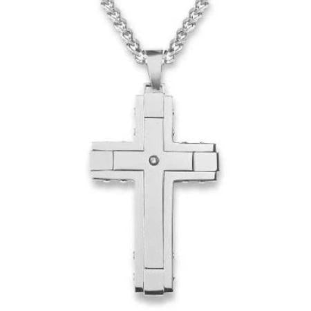 Laser Outlined CZ Stainless Steel Cross Necklace