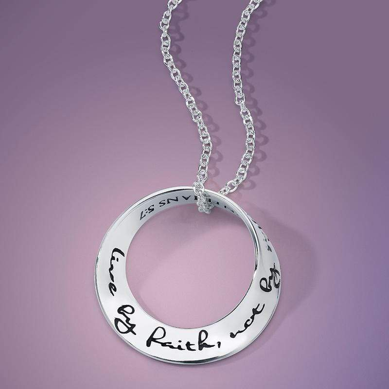 Live By Faith Not By Sight Sterling Silver Necklace