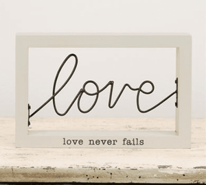 Love Never Fails Wire Frame Plaque - Atrio Hill