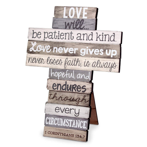 Love Stacked Scripture Cross (Larger Size)