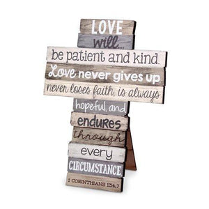 Love Stacked Scripture Cross - Atrio Hill