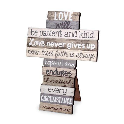 Love Stacked Scripture Cross Small