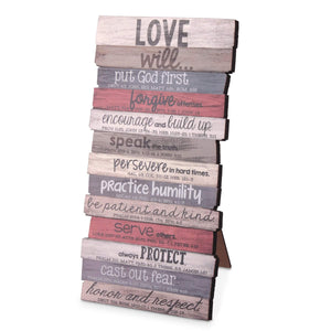 Love Stacked Scripture Plaque