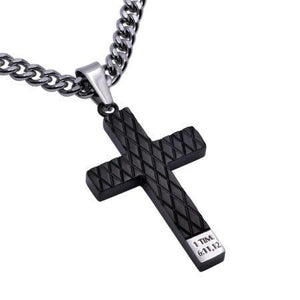 Man of God Black Diamond Pattern Cross Necklace