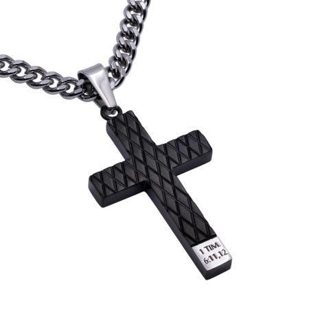 Black Diamond Back Cross Necklace Man Of God - Atrio Hill