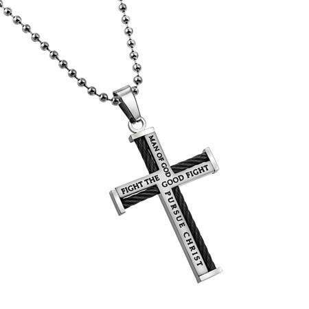 Cable Cross Necklace Man Of God Bible Verse - Atrio Hill