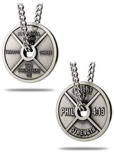 Men's Antique Finish High Relief Weight Plate Necklace - Phil 4:13