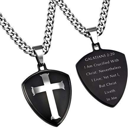 Men's Black R2 Shield Cross Necklace Crucified