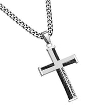 Men's Cable Cross Necklace Fear No Evil