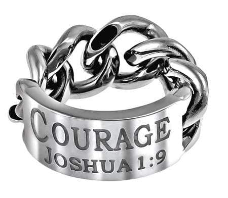 Men's Chain Link Ring - Courage Joshua 1:9