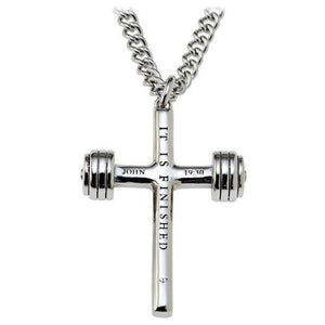 Men's Dumbbell Cross Necklace John 19:30