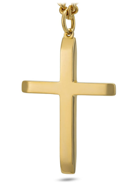Men's Gold Stainless Steel Cross Necklace - John 19:30