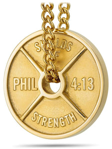 Men's Gold Stainless Steel Weight Necklace Philippians 4:13
