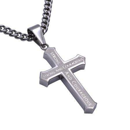 Men's Inlay Cross Necklace Courage