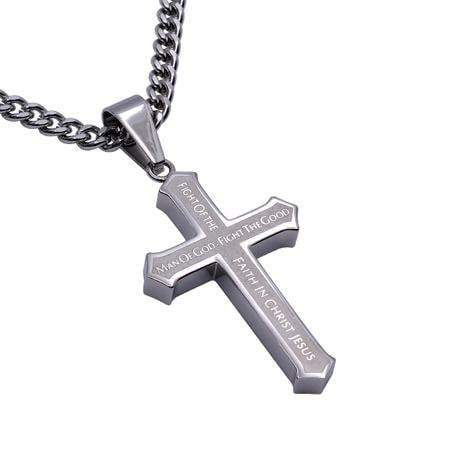 Men's Inlay Cross Necklace Man Of God