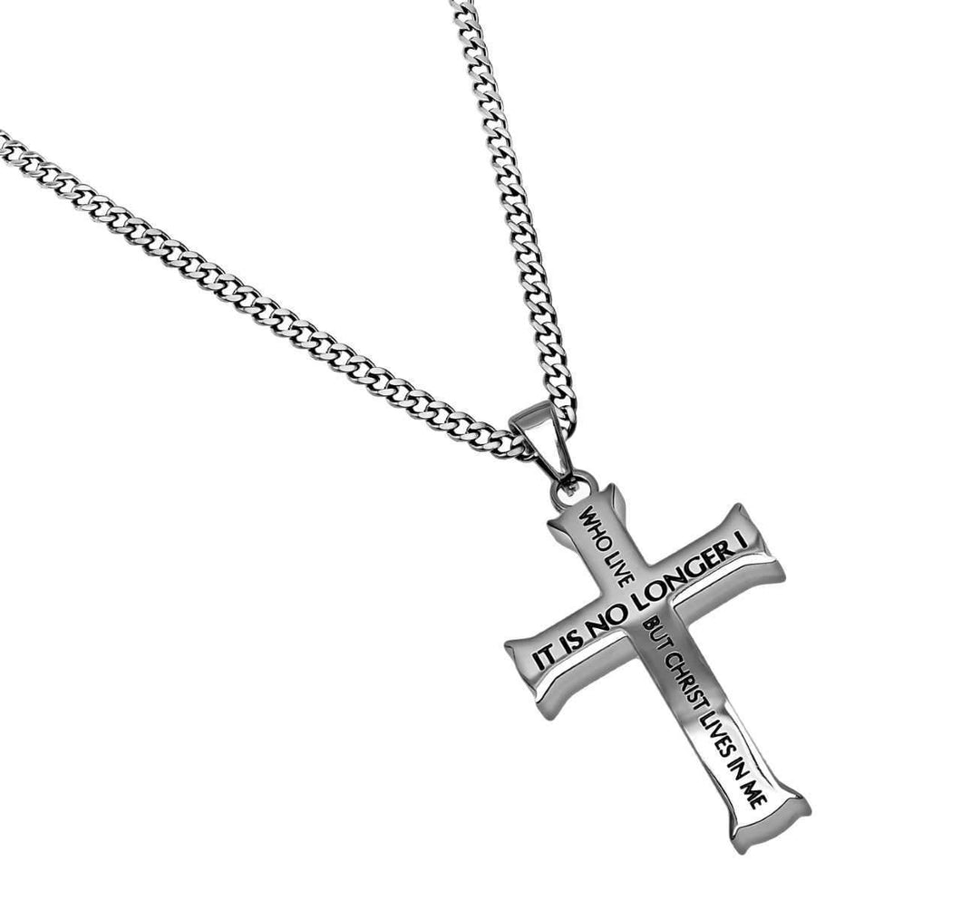 Men's Iron Cross Necklace No Longer Bible Verse