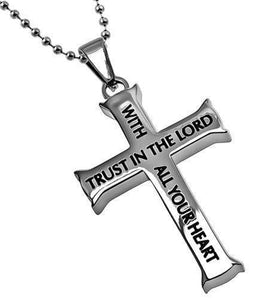 Men's Iron Cross Necklace Trust Proverbs 3:5,6