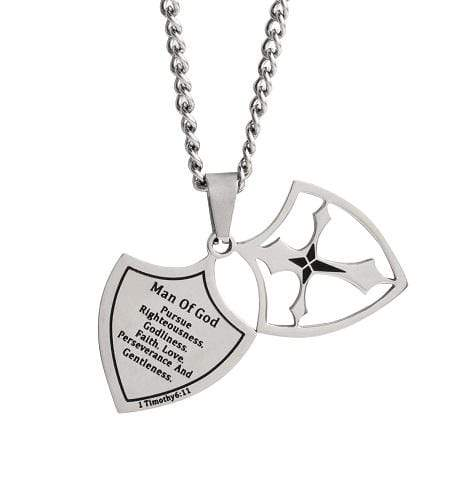 Men's Shield Cross Necklace Man Of God