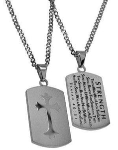 Men's Shield Cross Necklace Strength Bible Verse