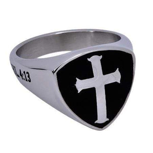 Men's Shield Cross Ring Christ My Strength
