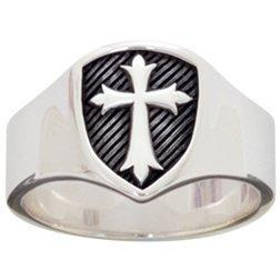 Men's Signet Shield Cross Ring
