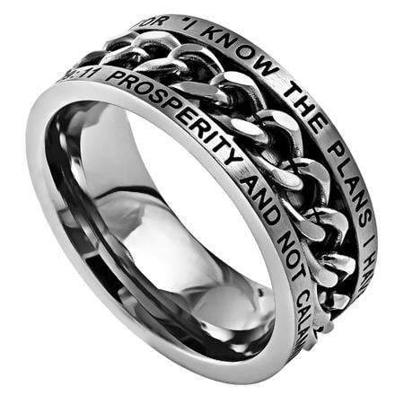 Men's Silver Chain Ring I Know Bible Verse