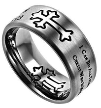 Men's Silver Christian Cross Ring His Strength