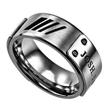 Men's Silver Deluxe Ring Courage Bible Verse