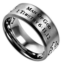 Men's Silver Stainless Steel Cross Ring Man Of God