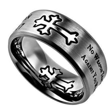 Men's Silver Stainless Steel Cross Ring No Weapon