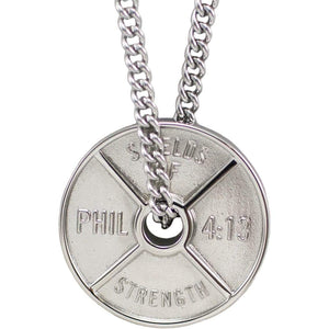 Men's Stainless Steel Weight Plate Necklace _ Philippians 4;13