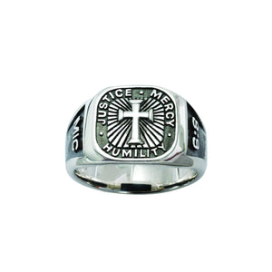 Men's Sterling Silver Cross Ring - Micah 6:8