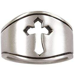 Men's Sterling Silver Cut-Out Cross Ring